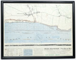 "Top Secret ""Bigot"" Map of Omaha Beach-West (Vierville-sur-Mer). D-DAY, WORLD WAR II"