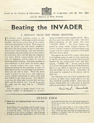 Beating the Invader. WINSTON CHURCHILL