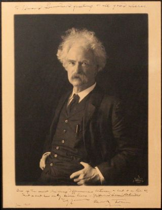 Signed and Inscribed Photogravure Portrait [Photograph]. MARK TWAIN, SAMUEL CLEMENS
