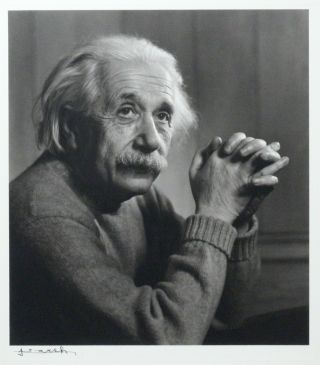Portrait Photograph of Albert Einstein, signed by Yousuf Karsh. ALBERT EINSTEIN, YOUSUF KARSH