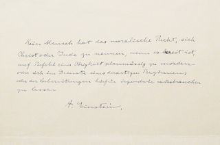 Autograph Manuscript Signed. ALBERT EINSTEIN
