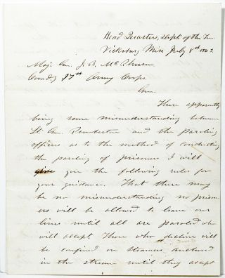 Autograph Letter Signed [ALS] from Vicksburg, 1863. ULYSSES S. GRANT