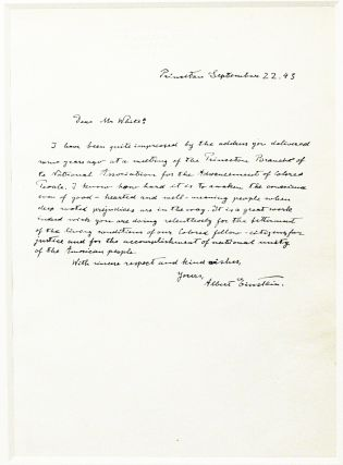 Autograph Letter Signed [ALS] Denouncing Racial Segregation. ALBERT EINSTEIN