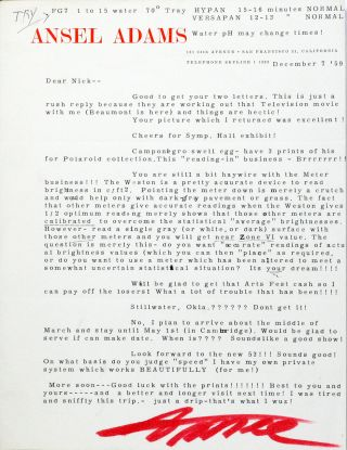 Typed Letter Signed [TLS]. ANSEL ADAMS