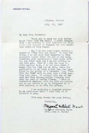 "Typed Letter Signed [""Margaret Mitchell Marsh""] on Gone With the Wind. MARGARET MITCHELL"