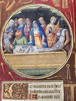 Illuminated Manuscript Leaf: The Entombment, Miniature from a Book of Hours