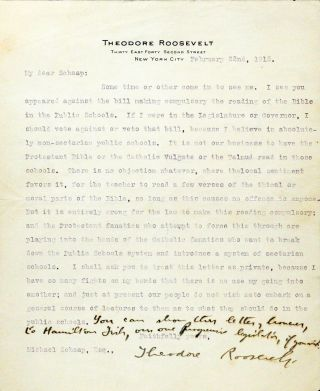 Typed Letter Signed with Autograph Additions [TLS]. THEODORE ROOSEVELT