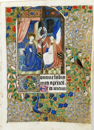 Illuminated Manuscript Leaf with Miniature of The Annunciation. ILLUMINATED MANUSCRIPT