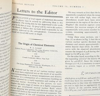 The Origin of Chemical Elements. Ralph Alpher, Hans Bethe, George Gamow