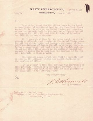 Typed Letter Signed. Franklin Delano Roosevelt